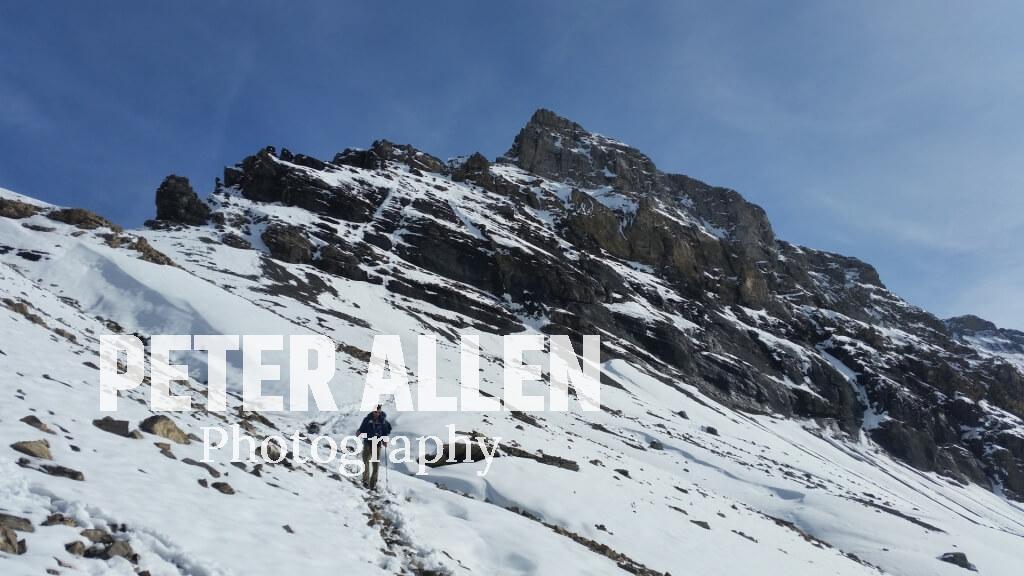 Descending the snow covered Col de Susanfe